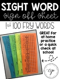 First 100 Fry Word Check Off Sheet