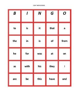 First 25 Fry Sight Word Bingo