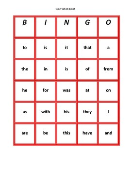First 25 Fry Sight Word Bingo