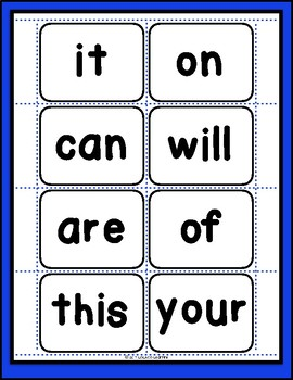 First 25 Sight Words: Cutout Cards for Kindergarten