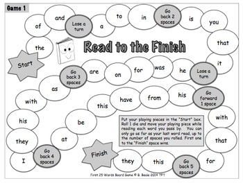 Game 1 - Fry Words 1-25 Read to the Finish Word Board Game - 11 pages