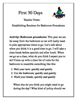 First 30 Days bathroom procedures