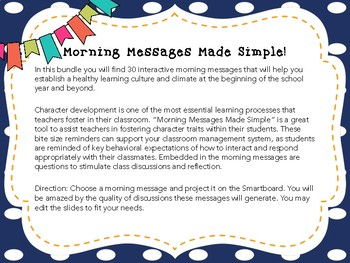Morning Message Made Simple: Build Student's Character