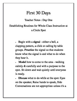 First 30 Days...whole class instruction