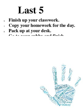First 5 Last 5 Expectation Posters for Classroom