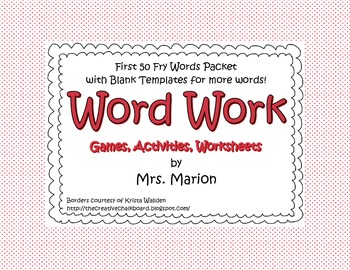 First 50 Fry Words Sight Word Packet