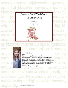 First 50 Sight Words Popcorn game