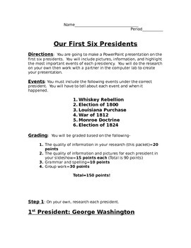 First 6 Presidents Power Point