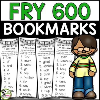 First 600 Fry Sight Words on Mastery Bookmarks