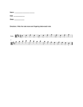 First 8 Notes worksheet