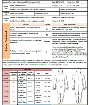 First Aid Accident Report Form with Filled out Example