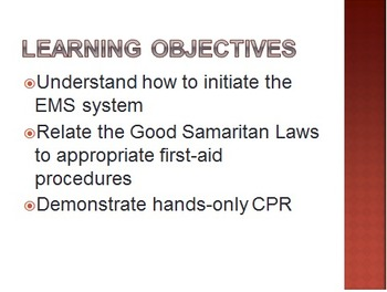 First Aid, CPR, and the Good Samaritan Laws Presentation
