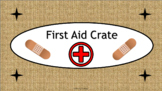 First Aid Crate Label - Burlap - with Clipart