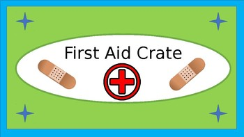 First Aid Crate Label - Lime & Teal - with Clipart