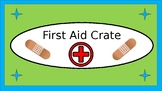 First Aid Crate Label - Lime & Teal - with Clipart --V2