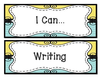 Lemon Yellow and Turquoise First Aid, I Can, Subject Headers, and More!