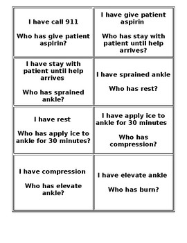 First Aid I Have -Who Has Game