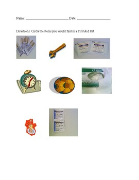 First Aid Kit Worksheets