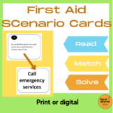 First Aid Scenarios Quiz Task Cards for Life Skills and ESL learners