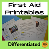 First Aid Worksheets - Scenarios to Discuss and Answer (Easy and Harder)
