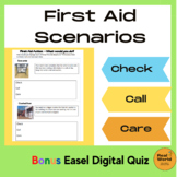 First Aid Scenarios using Check Call Care printable task cards with real photos