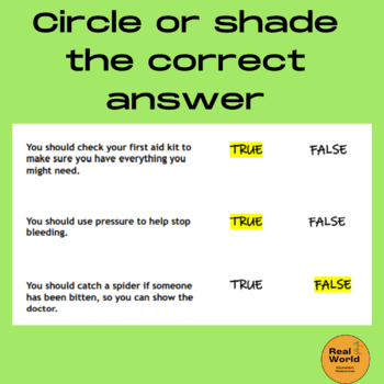 First Aid Printable Worksheet True False Quiz Questions And Answers