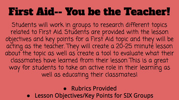 First Aid...YOU Be The Teacher Assessment