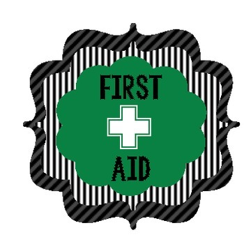 First Aid bucket label Teamwork themed