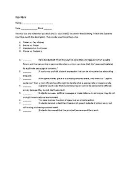 First Amendment Case Study Quiz