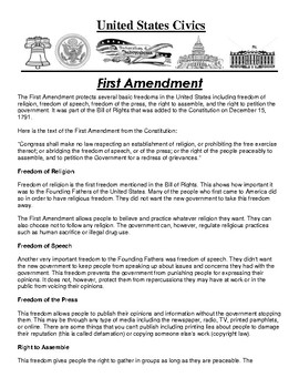 First Amendment Civics Article and Assignment
