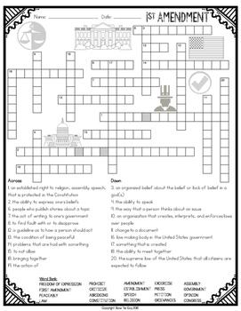 First Amendment Crossword