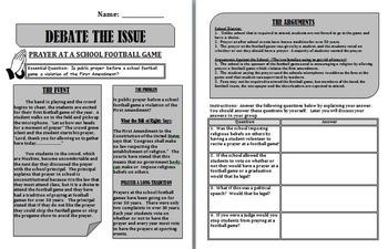 First Amendment Debate:  School Prayer at a Football Game