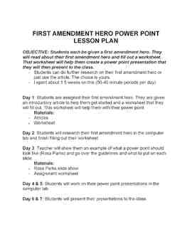First Amendment Hero Power Point Presentation Project