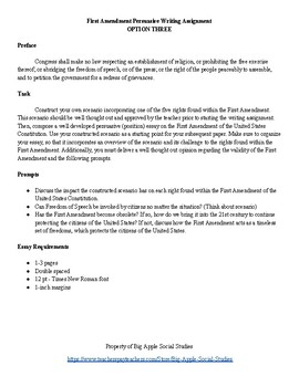 First Amendment Persuasive Writing Assignment