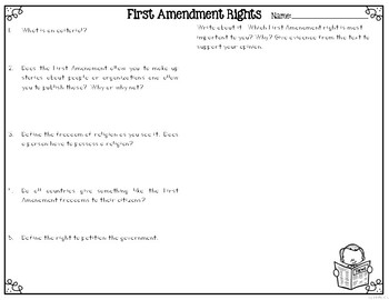 First Amendment Reading Passages Leveled Texts