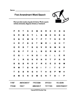 First Amendment Word Search (Grades 3-5)
