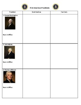 First American Presidents Graphic Organizer