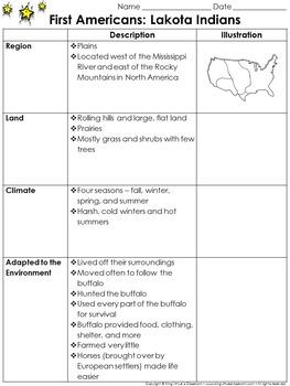 First Americans: Lakota Indians Study Guide Outline - Environment