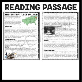First Battle of Bull Run Reading Comprehension Worksheet, Civil War