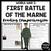 First Battle of the Marne World War I Reading Comprehension Worksheet WWI