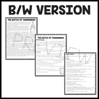 Battle of Tannenberg World War I Reading Comprehension Worksheet WWI