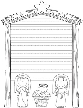 First Christmas Book, Writing, Nativity Coloring Page, and Card