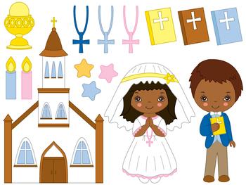 First Communion Clipart - Digital Vector First Communion, Kids Clip Art