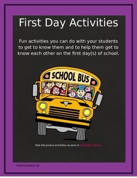 First Day Activities - Elementary