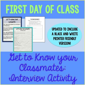 First Day Activity - Classmate Interview