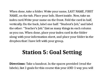 First Day Activity Station Directions