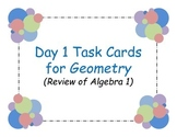 First Day Activity for Geometry (Review of Algebra 1)