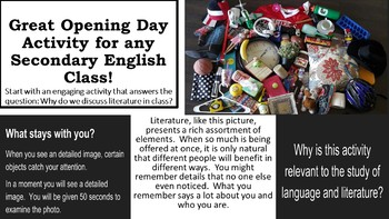 First Day Activity for secondary English Classes