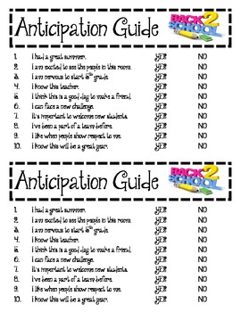 First Day Anticipation Guide