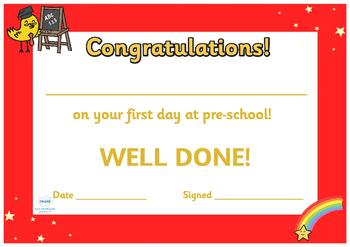 First Day Award Certificates (Kindergarten & Pre-school)